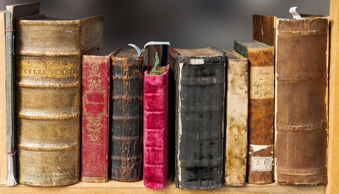 Antique books - photo in the public domain via Pixabay