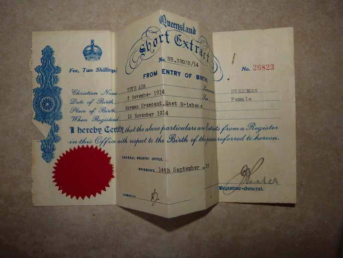 Birth certificate extract