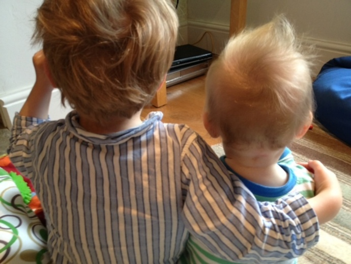 brothers, toddler, baby, TV