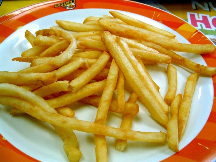 fries, chips, potatoes