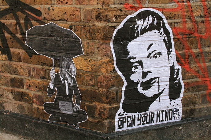 graffiti open mind wall bricks expression freedom thinking thought