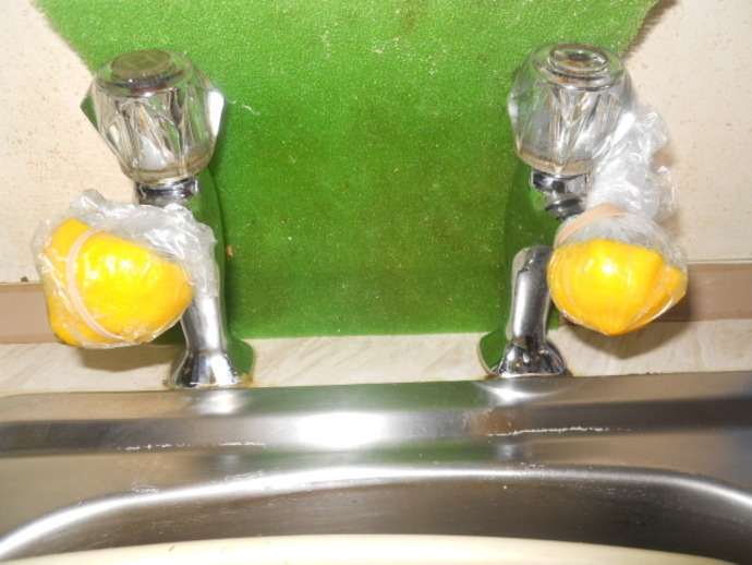 lemon, taps, limescale, sink, cleaning