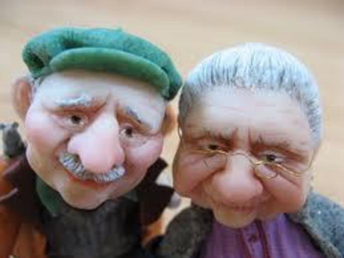 Male & Female old people puppet's.