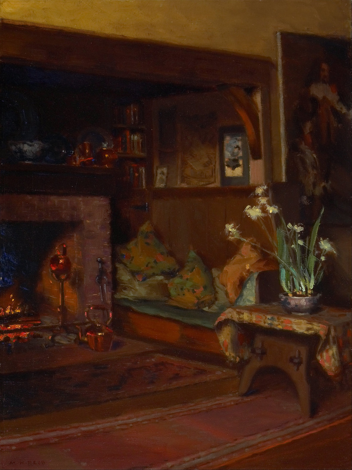 Mary Hiester Reid - The Inglenook in My Studio - Google Art (Project By Unknown (1854/1921)  Public domain, via Wikimedia Commons)