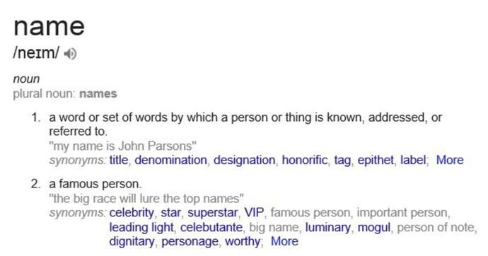 meaning name name-definition