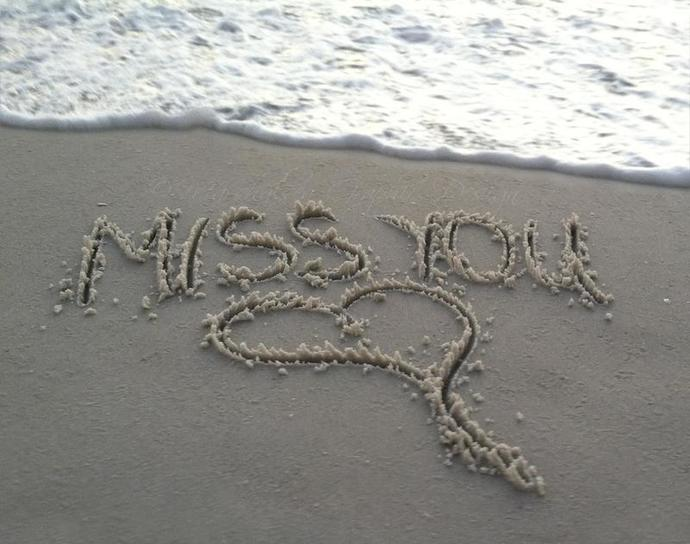 Miss you beach sand heart family missing