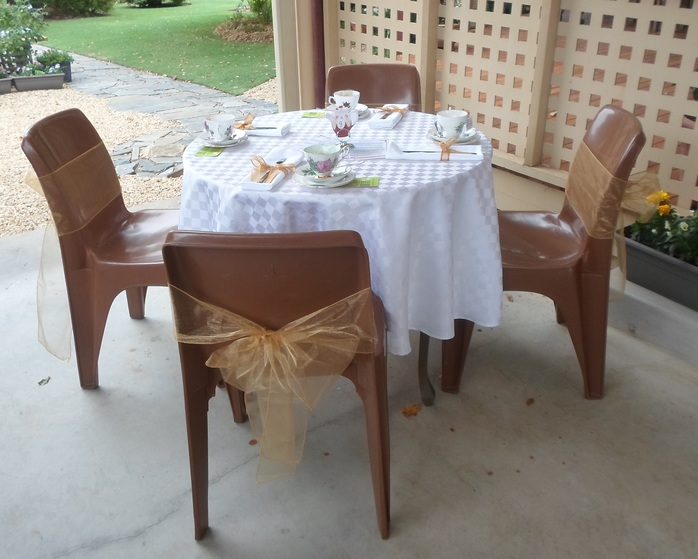 Outdoor table set for afternoon tea