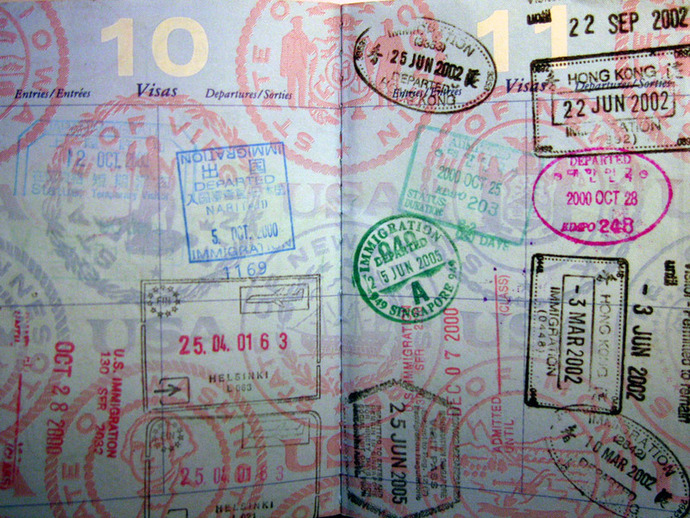 passport, passport stamps, travel, stamps, holiday, voyage