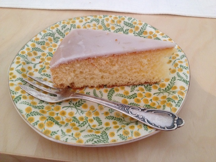slice of cake on plate with cake fork