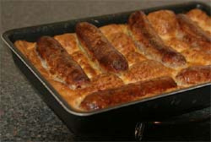 toad in the hole sausages batter childhood British food traditional meal