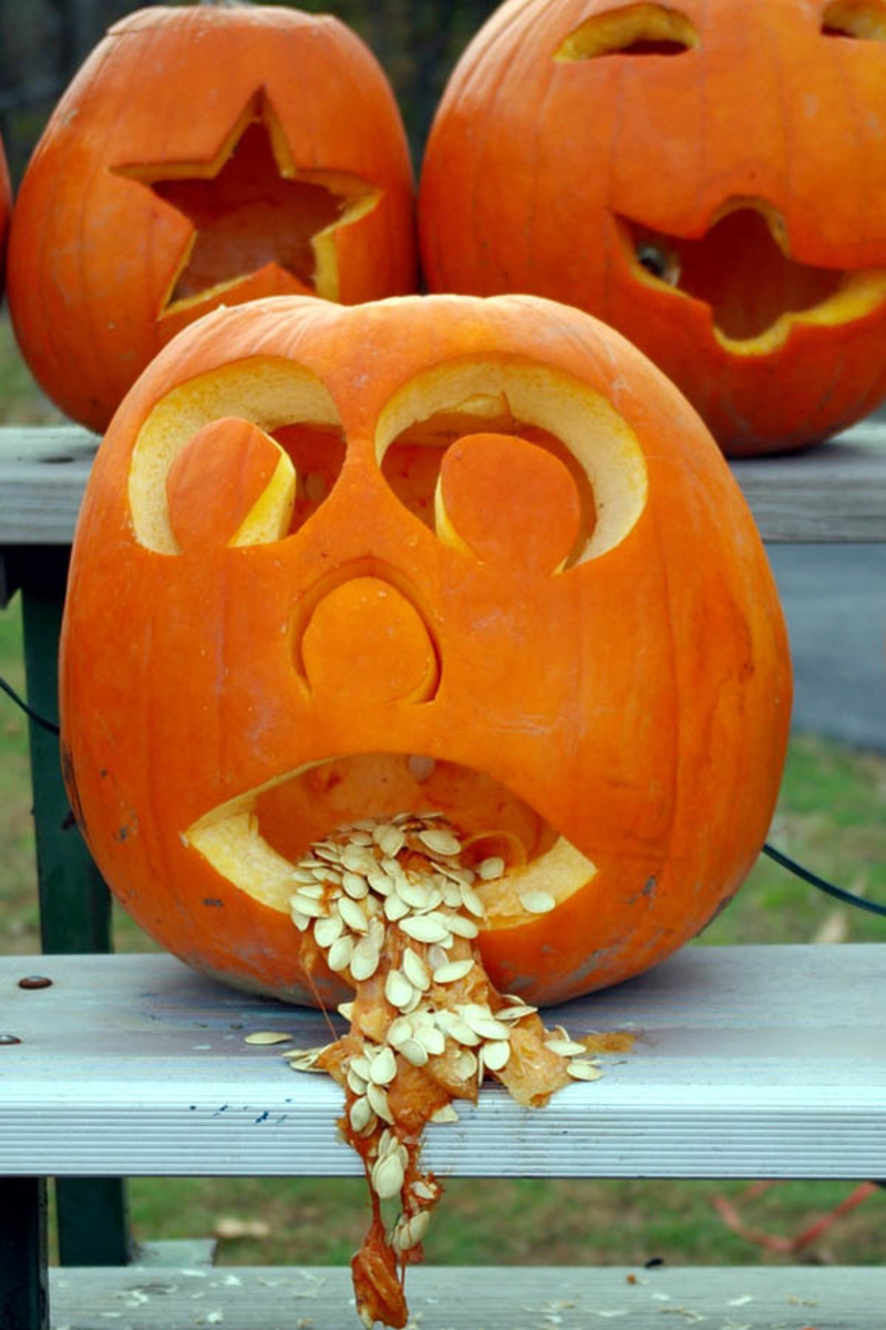 vomit sick illness pumpkin halloween