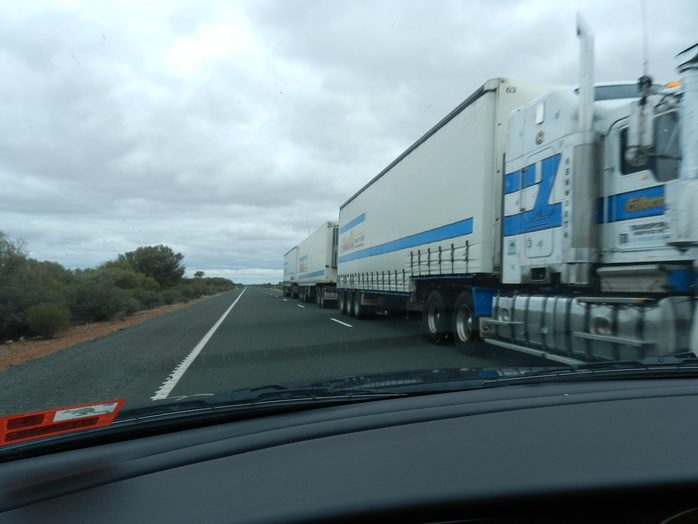 A road train in outback SA by Gayle Beveridge