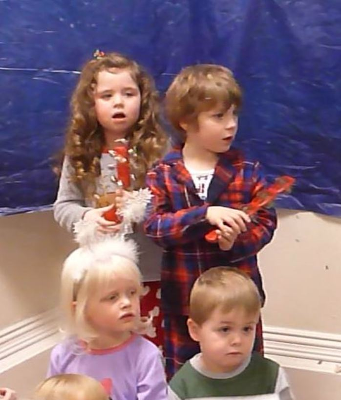 children singing Christmas show jingle bells song music