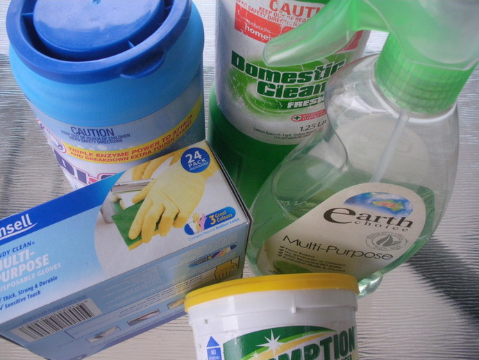 cleaning products bleach plastic gloves laundry powder cleanser