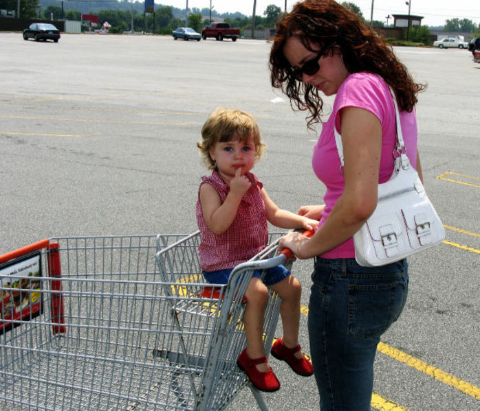 mother, daughter, toddler, child, shopping, trolley