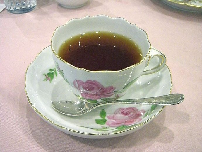 tea cup with rose pattern, cup and saucer, tea