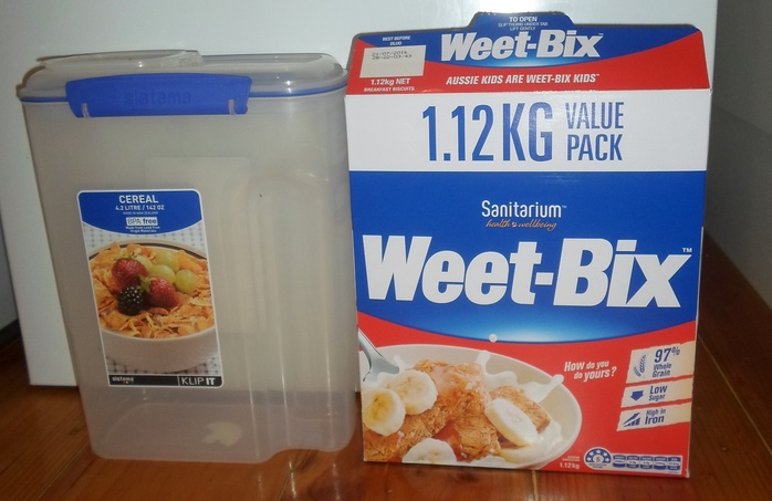 Weetbix and plastic container